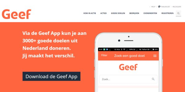 goede doelen via Geef.nl