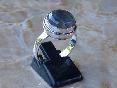 Madat Nepal Ring Zilver 21mm Labradoriet